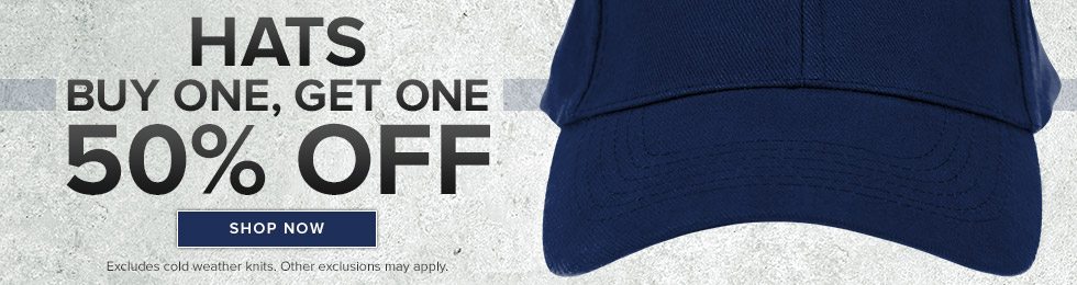 Picture of hat. HATS. Buy one, get one 50% OFF. Excludes cold weather knits. Other exclusions may apply. Click to shop now.