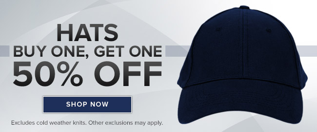Picture of hat. Buy one, get one 50% off. Excludes cold weather knits. Other exclusions may apply. Click to shop now.
