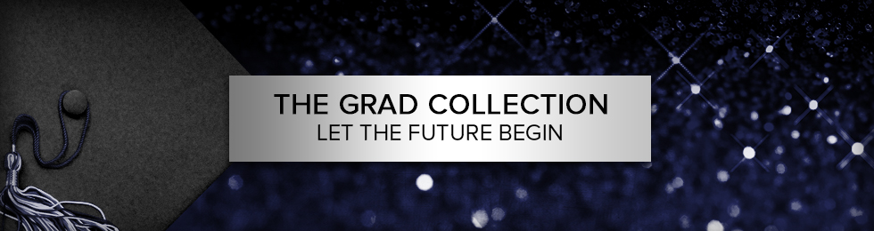 Picture of grad cap and tassel. The GRAD Collection, Let's the future begin.